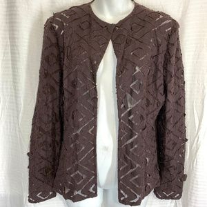 ANDRE OLIVER Dark Brown Open Style Blazer Jacket 8